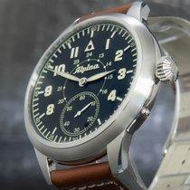 Alpina Startimer Pilot Heritage Stahl 50mm Schwarz Arabisch