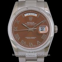 Rolex Or blanc Remontage automatique Brun 36mm occasion Day-Date 36