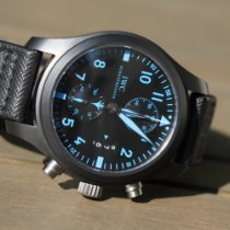 IWC Ceramic Automatic Black 46mm pre-owned Pilot Chronograph Top Gun