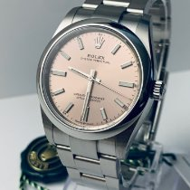 Rolex Oyster Perpetual 34 Steel 34mm Pink No numerals