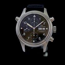 IWC Fliegeruhr Doppelchronograph gebraucht 42mm Schwarz Doppelchronograph Datum Wochentagsanzeige Textil