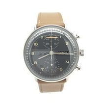 Junghans max bill Chronoscope pre-owned 40mm Grey Chronograph Date Weekday Leather