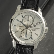 Maurice Lacroix Pontos Chronographe pre-owned 43mm Silver Chronograph Date Crocodile skin