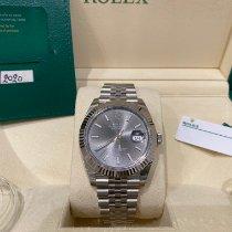 Rolex Or blanc Remontage automatique Gris Sans chiffres 41mm nouveau Datejust
