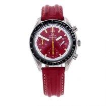 Omega Speedmaster Reduced gebraucht 39mm Rot Chronograph Tachymeter Leder