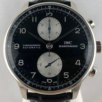 IWC Portuguese Chronograph pre-owned 41mm Black Chronograph Crocodile skin