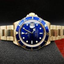 Rolex Submariner Date Желтое золото 40mm Синий Без цифр