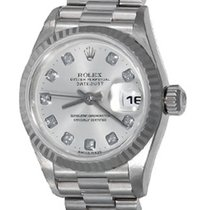 Rolex White gold Automatic Silver No numerals 25mm pre-owned Lady-Datejust