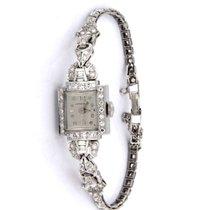 Longines Platin Handaufzug Silber Arabisch 15mm gebraucht