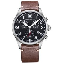 Aerowatch new Quartz Central seconds Small seconds Luminous hands Luminous indices 42mm Steel Sapphire crystal