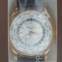 Patek Philippe World Time usados 39.5mm Plata GMT Piel