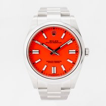 Rolex Oyster Perpetual pre-owned 41mm Red Steel