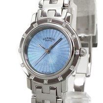 Hermès Clipper Stal 24mm Niebieski Bez cyfr