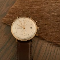 Junghans max bill Chronoscope pre-owned 40mm White Chronograph Date Leather