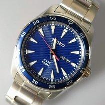 Seiko Solar Steel 43mm Blue No numerals