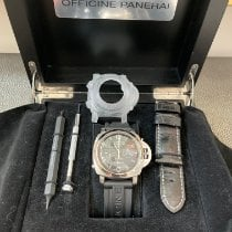 Panerai Acero Cuerda manual Negro Arábigos 44mm usados Luminor 1950 8 Days Chrono Monopulsante GMT