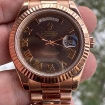 Rolex Day-Date II Růžové zlato 41mm Hnědá Římské