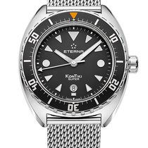 Eterna Super Kontiki Steel 45mm Black No numerals