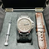 Panerai Titanium Manual winding Brown Arabic numerals 44mm pre-owned Luminor Base 8 Days