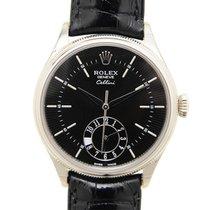 Rolex Cellini Dual Time Oro blanco 39mm Negro Sin cifras