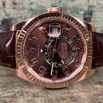 Rolex Sky-Dweller Roségoud 42mm Bruin Arabisch Nederland, Goor