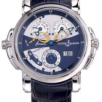 Ulysse Nardin Sonata occasion 42mm Bleu Date Réveil GMT Cuir de crocodile
