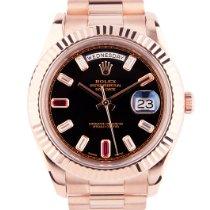 Rolex Day-Date II Rose gold Black No numerals United Kingdom, London