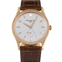 Patek Philippe Rose gold Manual winding Silver No numerals 37mm pre-owned Calatrava