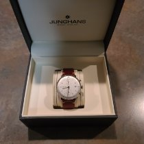 Junghans max bill Chronoscope pre-owned Silver Chronograph Date Leather