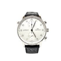 IWC Platinum Automatic Silver 41mm pre-owned Portuguese Chronograph