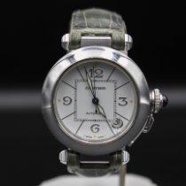 Cartier Pasha gebraucht 35mm Weiß Datum Leder