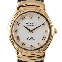 Rolex Cellini begagnad 26mm Vit Ödleskinn
