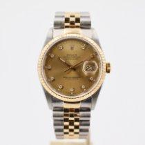 Rolex Datejust Zlato/Zeljezo 36mm Zlatan Bez brojeva