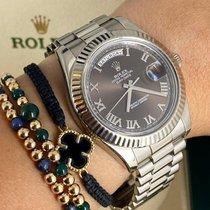 Rolex Day-Date II Белое золото 41mm Черный Римские