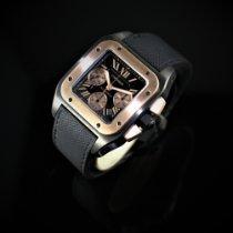 Cartier Титан Автоподзавод Черный Римские подержанные Santos 100
