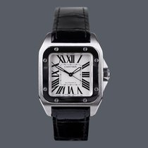 Cartier Santos 100 pre-owned Silver Crocodile skin