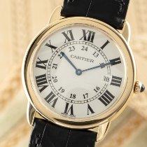 Cartier Ronde Solo de Cartier gebraucht 36mm Silber Datum Leder