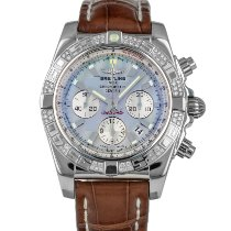 Breitling Chronomat 44 pre-owned 44mm Mother of pearl Chronograph Date Crocodile skin