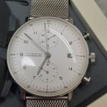 Junghans max bill Chronoscope pre-owned Silver Chronograph Date Steel