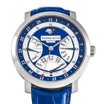 Pierre Kunz new Automatic Tempered blue hands Power Reserve Display Only Original Parts 44mm White gold Sapphire crystal