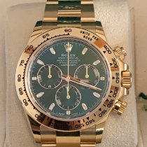 Rolex Daytona Желтое золото 40mm Зеленый Без цифр