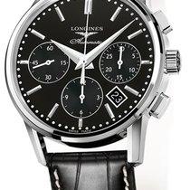 Longines Steel Automatic Black 40mm new Column-Wheel Chronograph