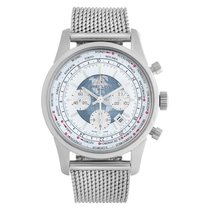 Breitling Transocean Chronograph Unitime pre-owned 46mm Silver Chronograph Date GMT Steel