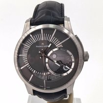 Maurice Lacroix Pontos Décentrique GMT pre-owned 45mm Grey Moon phase Date Crocodile skin