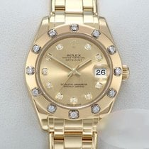 Rolex Lady-Datejust Pearlmaster Yellow gold 34mm Champagne No numerals