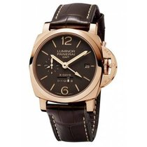 Panerai Red gold Manual winding Brown Arabic numerals new Luminor 1950 8 Days GMT