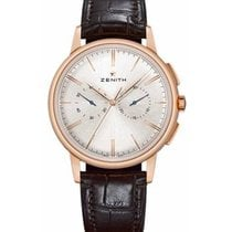 Zenith Rose gold Automatic Silver No numerals 42mm new Elite Chronograph Classic