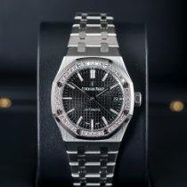Audemars Piguet Royal Oak Lady Stål 37mm Sort Ingen tal