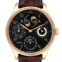 IWC Portuguese Perpetual Calendar pre-owned 44.2mm Black Moon phase Date Weekday Month Year Perpetual calendar Leather
