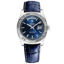 Rolex Day-Date 36 Or blanc 36mm Bleu Sans chiffres France, Paris